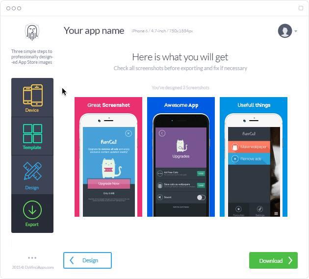 منصة الويب DaVinciApps لتصميم صور تطبيقات iOS على المتجر