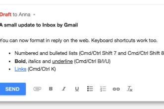 البريد الإلكتروني Inbox على الويب يحصل على ميزة تنسيق النص