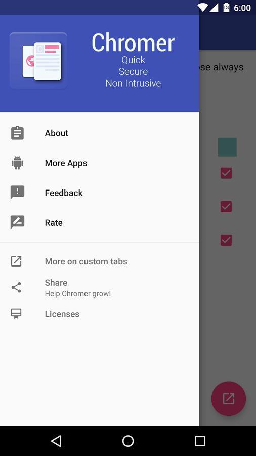 تطبيق Chromer لفتح نافذة منبثقة خاصة بمتصفح كروم دون الخروج من أي تطبيق