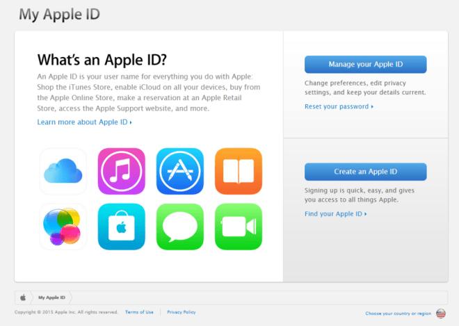 بوابة Apple ID القديمة