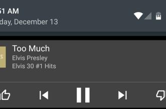 Play Music يضيف زر الإعجاب وعدم الإعجاب في شريط إشعارات التطبيق