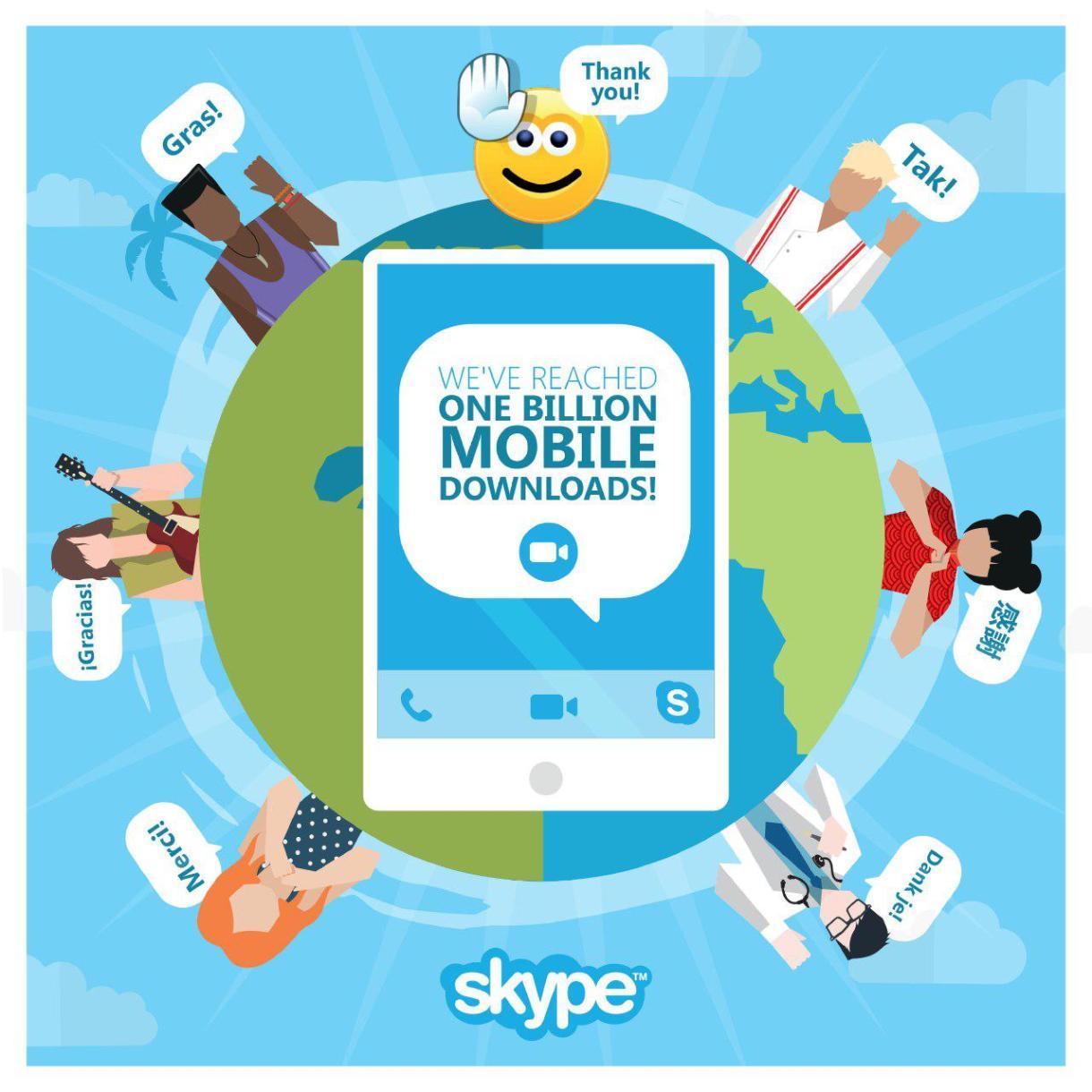 تطبيق سكايب يصل لـ 1 مليار تنزيل على الأجهزة المحمولة