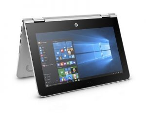 HP Pavilion x360 11.6_Natural Silver_ Entertainment Mode_Right Facing