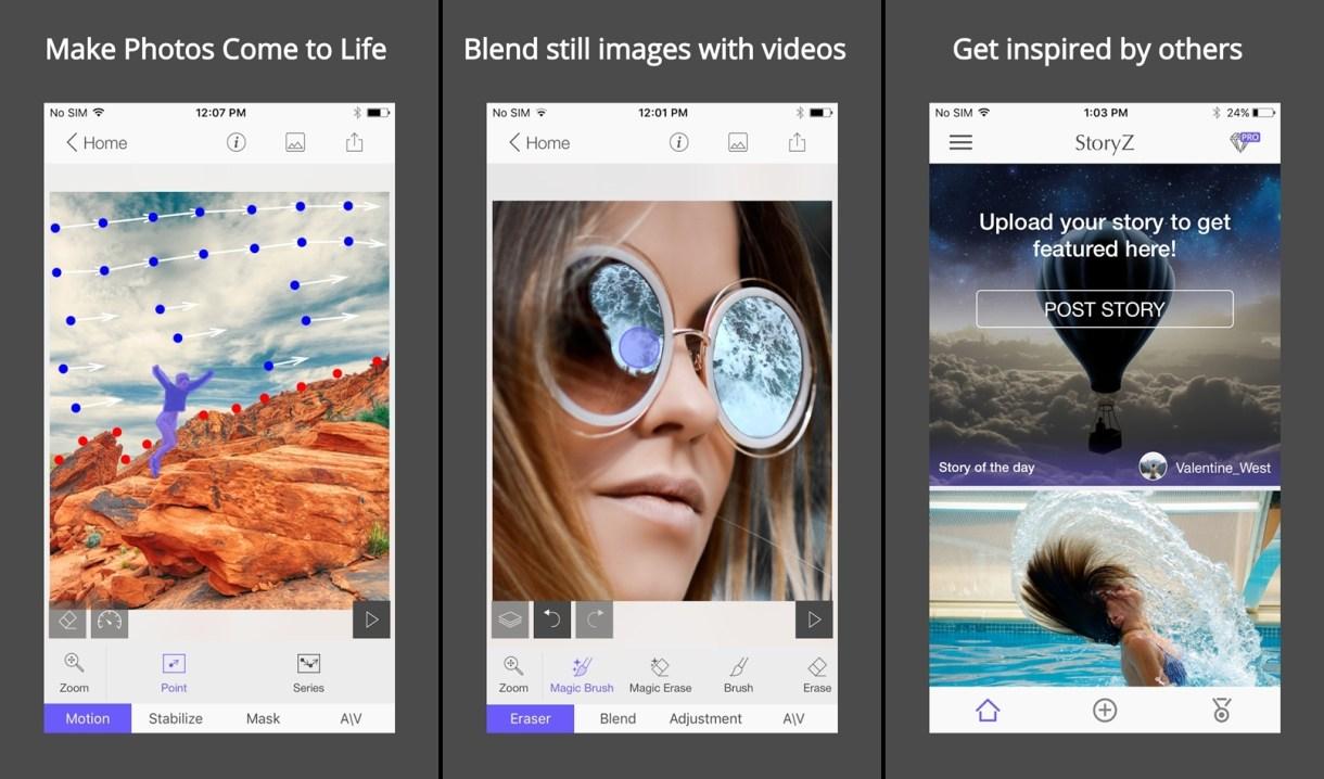 تطبيقStoryZ Photo motion لجعل جزء من صورتك الثابتة يتحرك