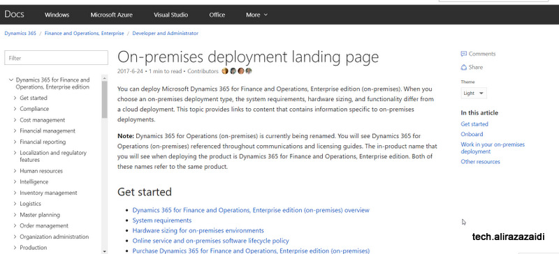 Dynamics 365 for Finance and operations on premise deployment  Landing Page link