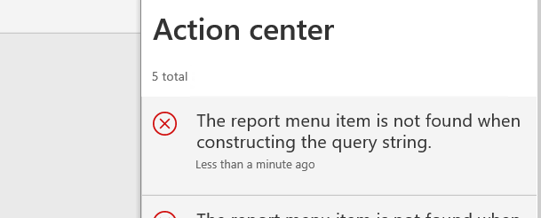 "为Dynamics 365 财务和运营构建查询字符串时找不到报表菜单项 / Report menu item is not found when constructing the query string"" Dynamics 365 for finance and operations."