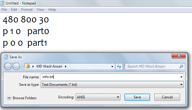 create boot animation-saving info file