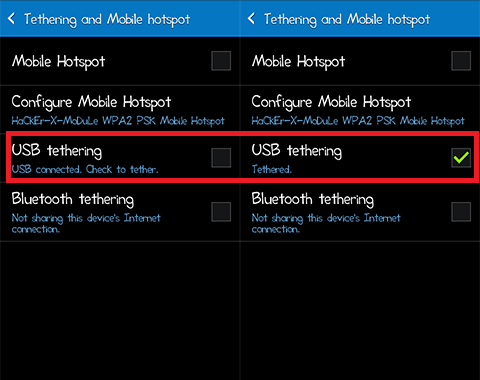 android as modem-usb tethering options