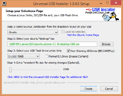 Universal USB Installer to create bootable pendrive