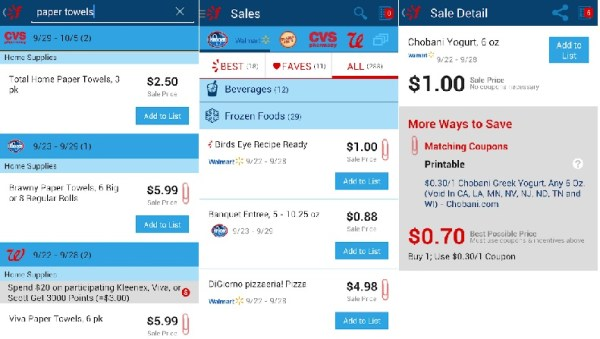Favado - Grocery & Shopping List Android App Coupon Matchup