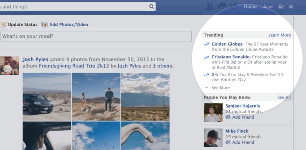 Trending topics op het web - Facebook