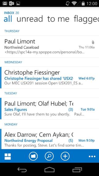 Microsoft evolutie van e-mail