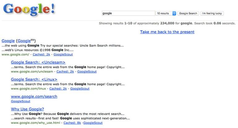 Google Easter Eggs - google in 1998