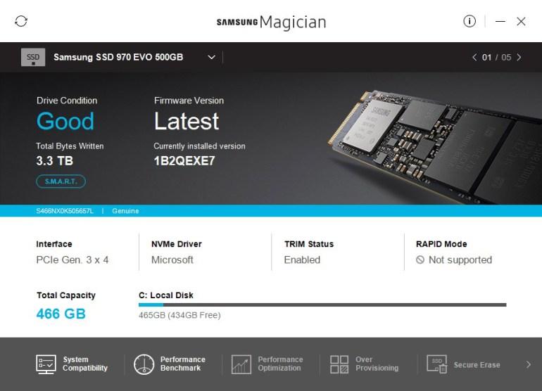 Samsung Magician software 970 EVO 01