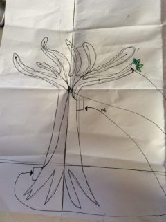 Drawing of renewable energy source from tree vibrations