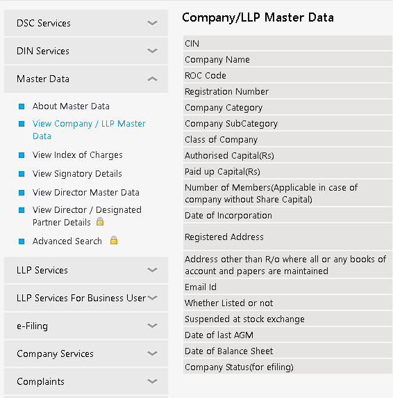 company master data full