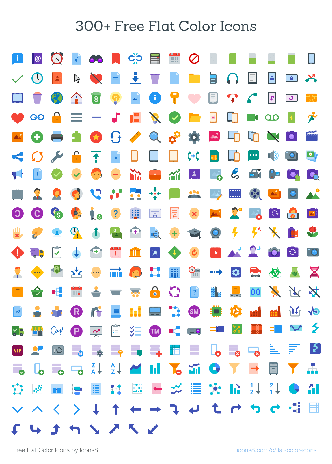 300 Free Flat Color Icons