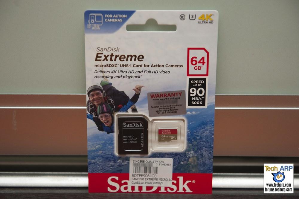 Sony FDR-X1000V Action Camera Sandisk Extreme MicroSD card