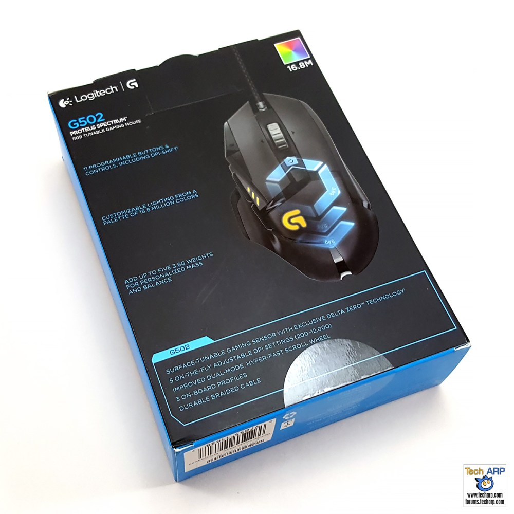 Logitech G502 Proteus Spectrum Gaming Mouse Box