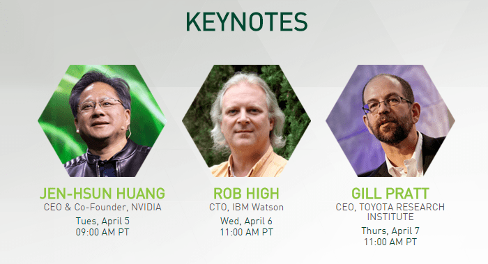 NVIDIA, IBM and Toyota Keynotes For GTC 2016