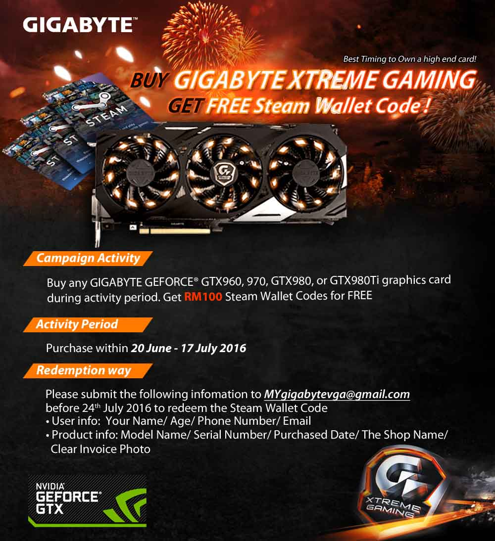GIGABYTE Offers Free Steam Wallet Codes | Tech ARP