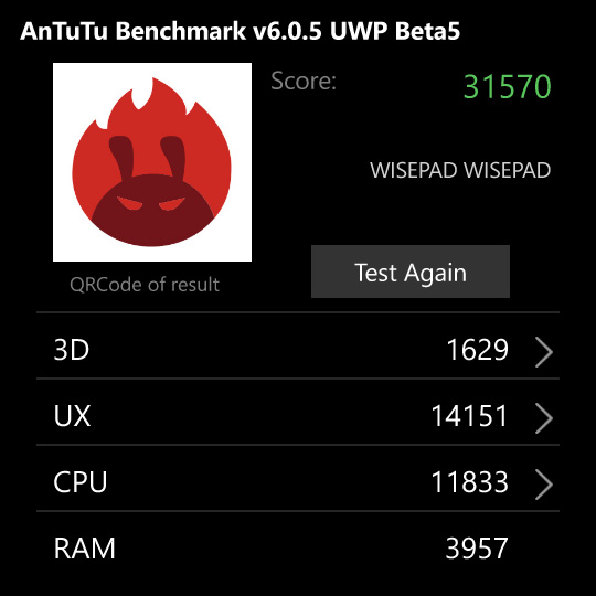 Wise Pad W7 Antutu benchmark results