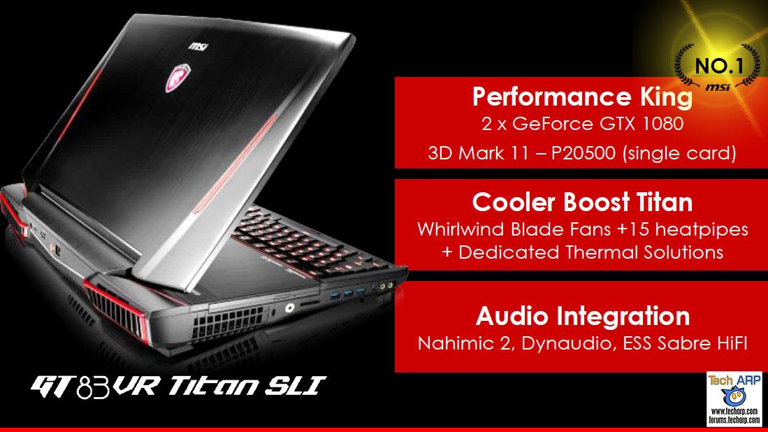 MSI GT73 Gaming Laptop with GeForce GTX 1080 SLI