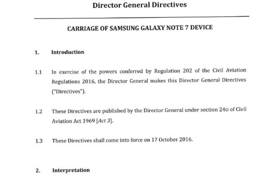 Malaysian DCA Permits Galaxy Note7 Onboard Aircraft