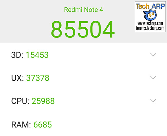 The Xiaomi Redmi Note 4 (Helio X20 Model) AnTuTu results