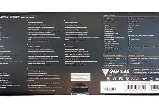 The GAMDIAS Hermes RGB Mechanical Gaming Keyboard box