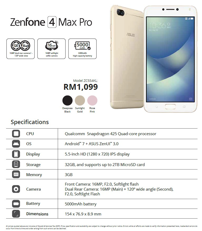 the asus zenfone 4 price list pre order offers revealed tech arp. Black Bedroom Furniture Sets. Home Design Ideas