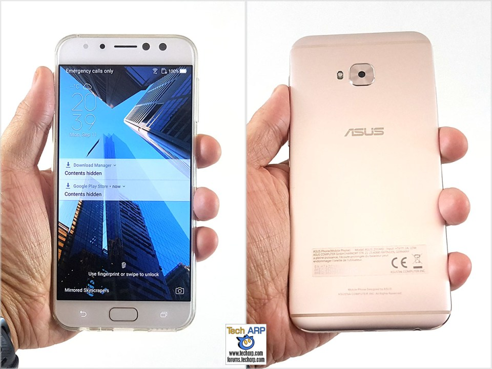 The ASUS ZenFone 4 Selfie Pro (ZD552KL) smartphone in hand