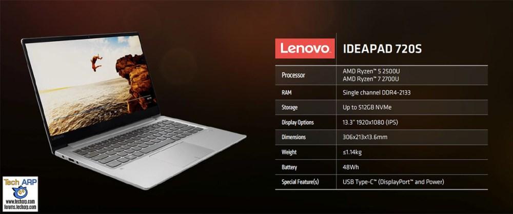 First AMD Ryzen Mobile Notebooks Revealed - Lenovo IdeaPad 720S