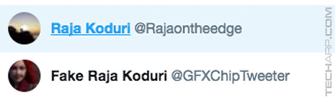 Raja Koduri Twitter switch - GFXChipTweeter and RajaOnTheEdge
