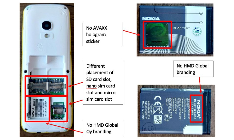 Fake Nokia 8110 banana phone identification