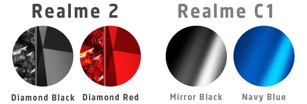 Realme 2 Realme C1 colour + finish comparison