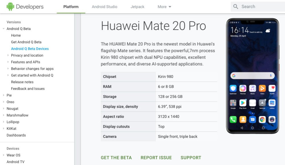 HUAWEI Mate 20 Pro Android Q Beta restored