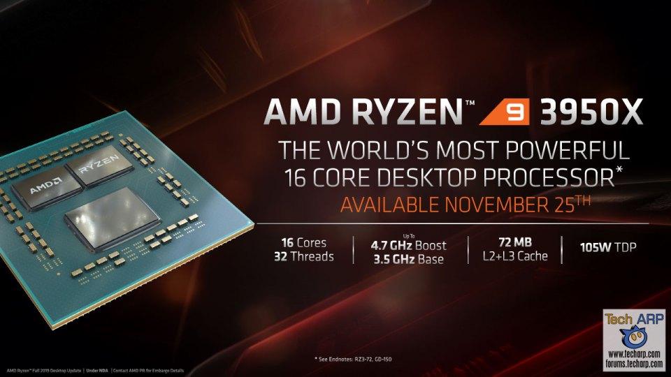 AMD Fall 2019 Desktop Update slide - AMD Ryzen 9 3950X