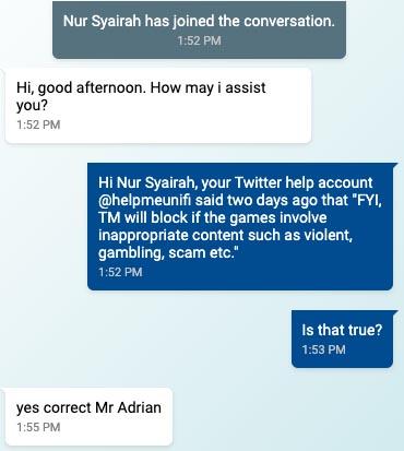 Unifi Chat game server blocked