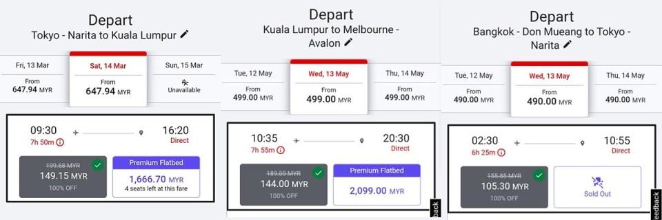 AirAsia deep discount examples