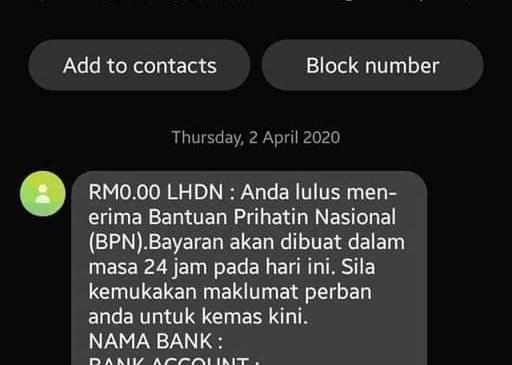 Bantuan Prihatin Nasional Scam 03