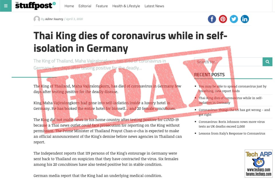 NYCINews Thai King COVID-19 death hoax