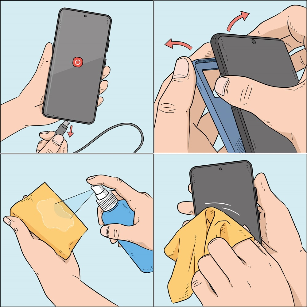 Samsung Cleaning Smartphone Steps