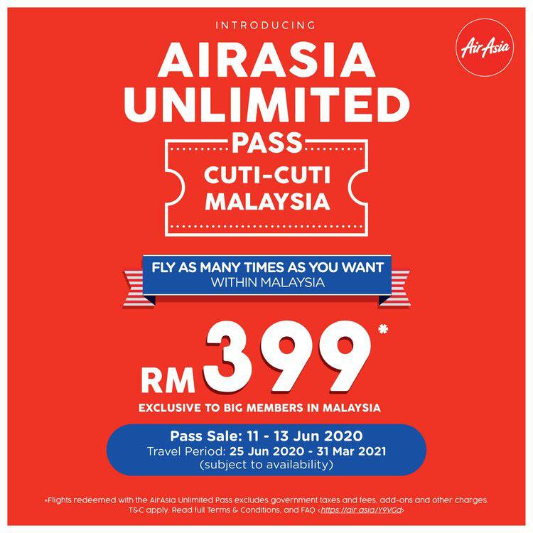 AirAsia Unlimited Pass Cuti-Cuti Malaysia promo