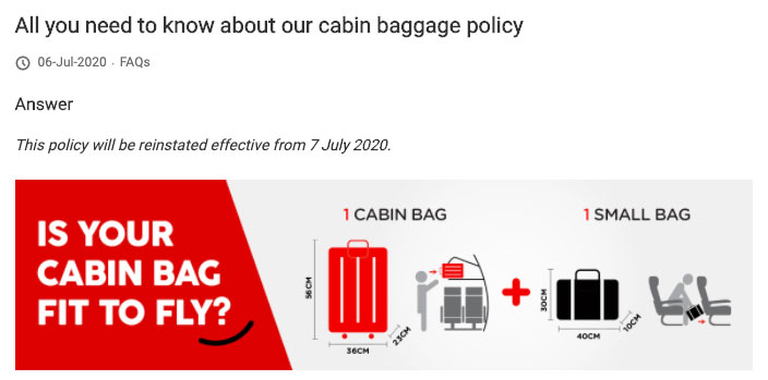AirAsia Cabin Luggage Limits Reinstated