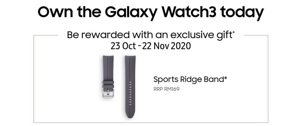 Samsung Galaxy Watch 3 October free sports ridge band