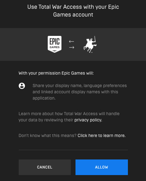 Total War Access Epic Games link