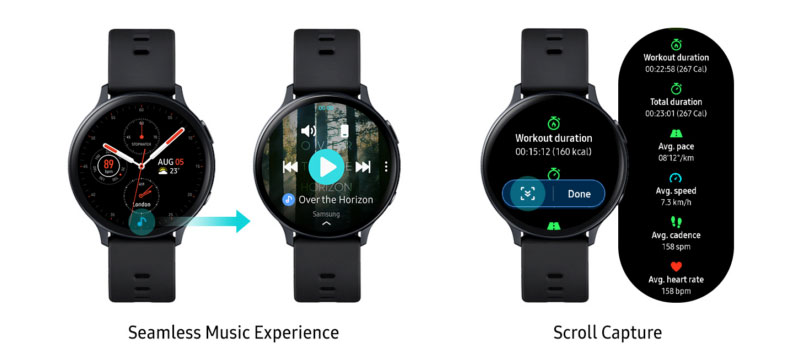 Samsung Galaxy Watch Active 2 Seamless Music + Scroll Capture