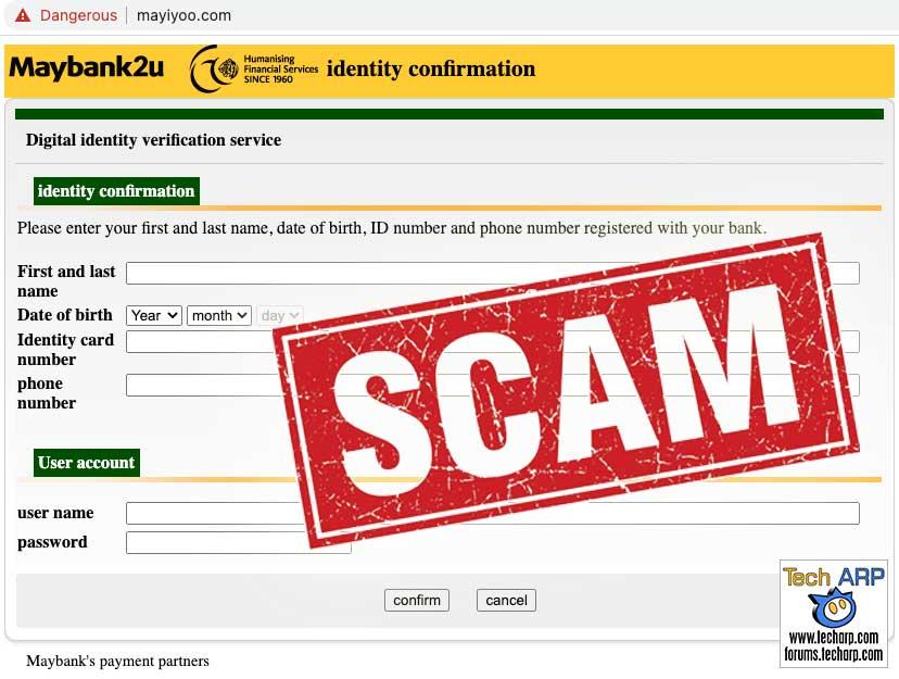 Maybank phishing scam - Mayiyoo website