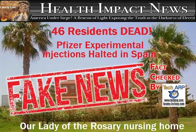 HealthImpactNews fake post on Spanish nursing home deaths